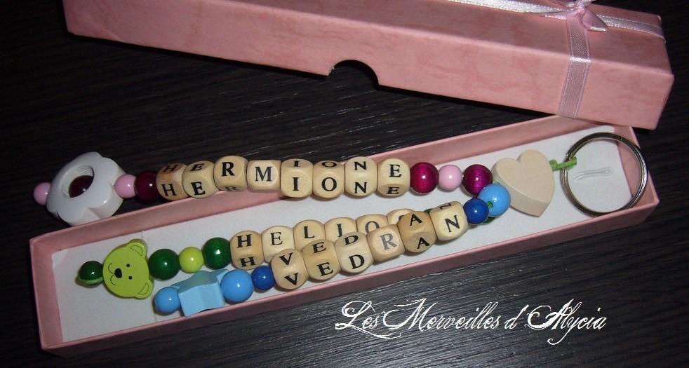 Porte cl bijou de sac perles en bois personnalis pr nom - Porte prenom ...